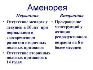 первичная и вторичная аменорея